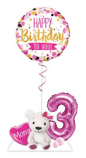 Ballon Luftballon Heliumballon Deko Teddy Bär Überraschung Mitbringsel Ballonpost Ballongruß Versand verschicken Helium Mädchen Idee Happy Birthday to you mit Namen  Personalisierung Geschenk Ballonpost Ich hab dich so lieb Zahl Herz 1 2 3 4 5 6 7 8 9