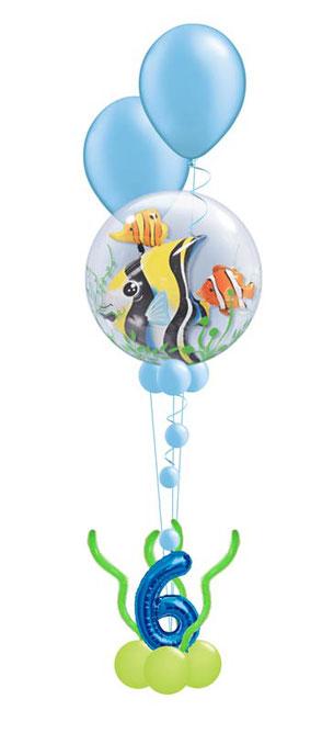 Ballon Luftballon Heliumballon Deko Dekoration Überraschung Mitbringsel Ballonpost Ballongruß Versand verschicken blau Hund Plüschtier Geburtstag happy birthday Geschenk Idee Ballonpost Bouquet Heliumballons Fisch Fische CLownfisch Nemo Meer Zahl Alter