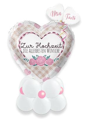 Ballon Luftballon Helium Geschenkballon Geschenk Idee Hochzeit Heirat Brautpaar Kirche Standesamt herzlichen Glückwunsch Wünsche Alles Liebe elegant Versand personalisiert Herz Namen Deko Ballonpost Ballongruß personalisiert Personalisierung Überraschung