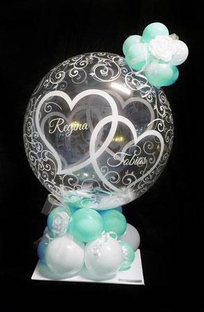 Bubble Ballon Geschenkballon Luftballon Geschenk Überraschung Hochzeit Herzlichen Glückwunsch Geldballon Geld Geldgeschenk Herz Verpackungsballon Verpackung Blickfang Hochzeitsfest Trauung Party Standesamt Firma Arbeitskollegen Freunde Rose Mitbringsel