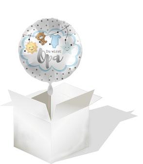 Ballongrüße Karton aus der Box Ballongrüsse Ballongruß Ballonüberraschung Folienballon Luftballon Airwalker Heliumballon Versand verschicken Post Paket Glückwunsch Ballon Du wirst Opa Oma Geburtstag Hochzeit Geburt Kommunion Helium schwebt Versand