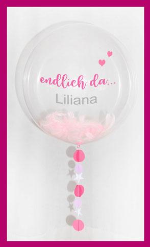 Bubble Luftballon Ballon Geburt Baby Geschenk Überraschung süß elegant Herz Stern personalisiert mit Namen endlich da Mädchen Junge
