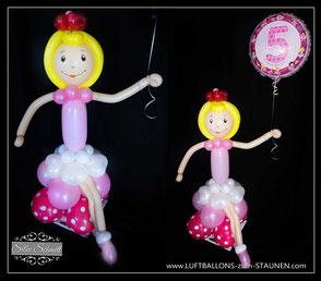Ballongeschenk Geschenk Luftballon Folienballon Alter Mädchen Kindergeburtstag Party Deko Dekoration Ballerina Princess Prinzessin Alter 1 2 3 4 5 verschicken