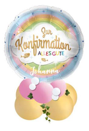 Ballon Luftballon Regenbogen Folienballon Geschenk Geschenkballon Zur Konfirmation alles Gute religion religiöse Feier Deko Dekoration Tisch Tischdeko Versand Mitbringsel Überraschung Geldgeschenk rosa Name Personalisierung personalisiert