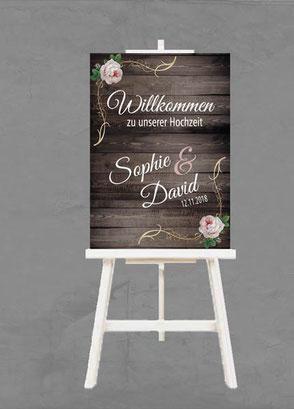 Schild Poster Plakat Willkommen zu unserer Hochzeit mit Namen des Brautpaars personalisiert individuell gestaltbar Hochzeitsdatum vintage auf Staffelei weiß Holzoptik Motiv Scheunenhochzeit romantisch Rose Ballons Luftballon