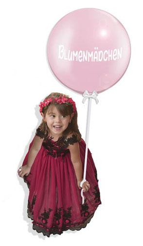 Blumenmädchen Mädchen Hochzeit Brautmädchen Braut Luftballon Ballon Bubble edel Schleife Heliumballon Helium Versand personalisiert mit individueller Beschriftung beschriftet Namen