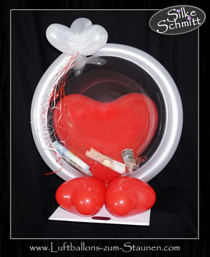 Luftballon Ballon Bubble Geschenk personalisiert individuell beschriftet Happy Birthday Name Alter Zahl Herz Geschenk Überraschung Bouquet runder Geburtstag Party Deko Dekoration Geldgeschenk Geld