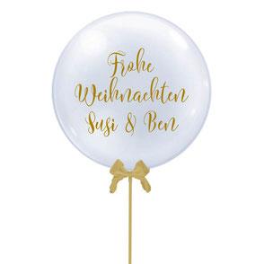 Bubble Ballon Luftballon Heliumballon personalisiert individueller Text mit Namen Schleife Sterne beschriftet Weihnachten Frohe Weihnachtsparty Party erste Weihnacht Baby Mädchen Junge
