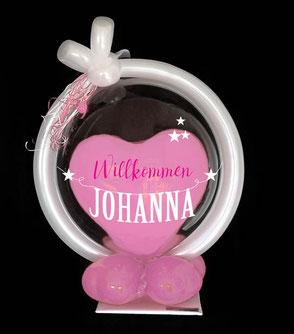 Bubble Luftballon Ballon Geschenk Geburt Baby Taufe Willkommen Party Shower Hurra Herzlich willkommen Name Baby Mädchen Junge Geschenk Überraschung