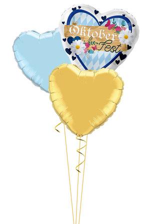 Ballon Heliumballon Heliumherz Herz Oktoberfest Party Feier Deko Dekoration Mitbringsel Geschenk Versand Bouquet Heliumballons Geschenk Geburtstag Tischdeko blau weiß