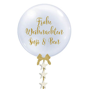 Bubble Ballon Luftballon Heliumballon durchsichtig personalisiert individueller Text mit Namen Schleife Sterne beschriftet Weihnachten Frohe Weihnachtsparty Party erste Weihnacht Baby Mädchen Junge Geburtstag Taufe Baby Hochzeit Versand