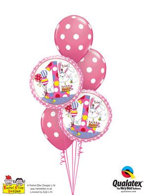 Folienballon Ballon Luftballon Heliumballon Strauß Ballonstrauß Bouquet Geburtstag Junge Mädchen 1 2 3 4 5 6 Rachel Ellen Punkte pink  Kindergeburtstag Deko Dekoration Mitbringsel Überraschung Party Feier Hase Versand verschicken
