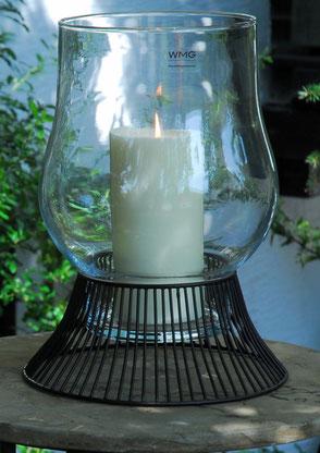 Windlicht groß STRIPES Metal Glas Metal-Glas WMG Ambiente Collection klassisch edel zeitlos