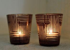 Glas Teelicht Teelichtglas EVA modern braun Ambiente Collection