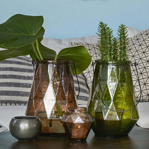Glas Vase Laterne Windlicht Sara Ambiente Collection raute Brombeer Braun