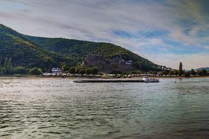 Der Rhein mit Blick auf die Burg Rheinfels im Hintergrund