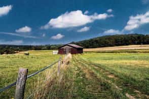 Holzhütte auf Ackerland