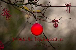 weihnachtskugel-rot-im-wald-II-spruchkarte-froehliche-weihnachten