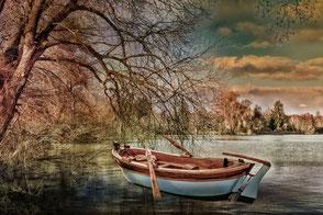 Ruderboot am See unter Trauerweide High Key