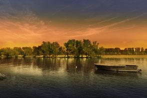 Boot im Sonnenuntergang an den Rheininseln