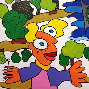 Vom Künstler Michael Fischer-Art bemalte Wandfassade mit bunten Figuren.