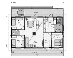 Erdgeschoss - Blockhaus Bungalow mit Satteldach - Ebenerdiges Massivblockholzhaus - Holzhäuser mit Kompetenz und Know How in Berlin Brandenburg - Sachsen Anhalt - Hessen