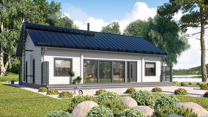 Blockhaus Bungalow mit Satteldach - Holzhäuser in Blockbauweise - Einfamilienhaus - Hausbau - Holzbau - Wohnhaus bauen - Peine - Warburg - Höxter - Massivblockholzhaus - Petershagen - Rinteln - Salzwedel - Hamburg - Niedesachsen - Massivholzhaus - Holzhau