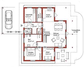 Wohnhaus - Mecklenburg - Erdgeschoss - Individuelle Planung - Holzhaus in massiver Blockbauweise - Architektenhaus - Einfamilienhaus - Massivholzhaus - Hauskauf - Hausplanung -  Terrasse - Blockhausbau