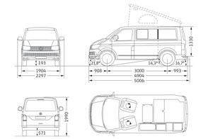 Volkswagen California Ocean Camper Abmessungen