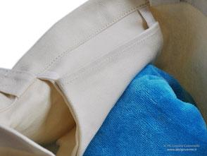 Tasca cucita all'interno della borsa