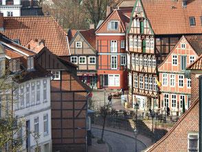Der historische Hafen von Stade in der Altstadt.