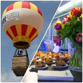 Fliegender Heißluftballon, Catering und Blumen