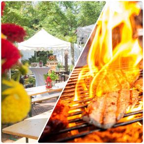 Outdoor Sommerfest, Grillfleisch und Feuer
