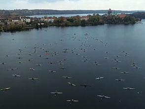 ROWonAIR Regattateilnahme an der Ratzeburg Rowing Challenge, Vogelperspektive Starterfeld