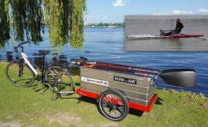 ROWonAIR SecuMOBIL | Mit Fahrradanhänger & aufblasbares SUP zum Rudern direkt ans Wasser