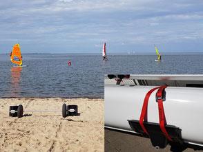 XCAT-Segelkatamaran mit dem zerlegbaren Slipwagen über Sandstrand transportieren