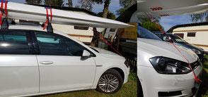 XCAT-Segeln | Dachtransport Abspannsicherung bei kurzen Autos