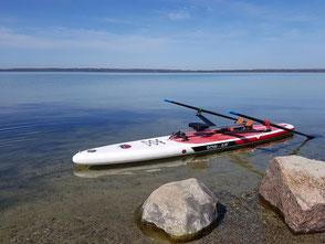 ROWonAIR am Schweriner See auf SUP RowMotion klassisch rudern