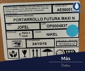 MÁS DATOS DEL DISPENSADOR DE PAPEL HIGIÉNICO JOFEL MAXI NÍQUEL BARNIZ AE58001