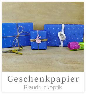Blaudruck Geschenkpapier, blaues Geschenkpapier