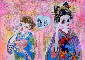 糸電話、着物の女の子、geishagirl