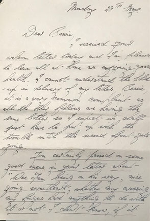 """A letter from James Watt Stevenson to his wife """"Bessie"""" written on 29th May 1944, a few days before he was killed (copyright J.W.Stevenson)"""