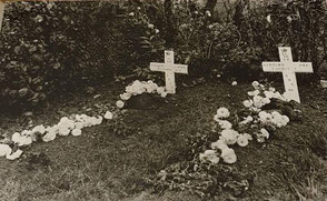 The Fieldgrave(left one) of Pte.Albin Sumara at Retranchement(The Netherlands). The fieldgrave was located in the garden of the Luteijn family at the Dorpstraat 5a. With was a first aid post at that time.