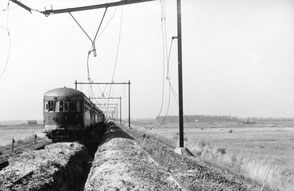 1946 The train before it was destroyed by the mortar fire, trench was dig after the battle (Utrechts Archief 160671)