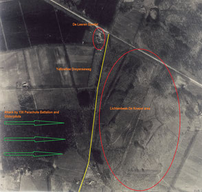 Attack by 156 Parachute Battalion and Gliderpilots on Lichtenbeek area/De koepel/point 56.5. (Collection P. Reinders)