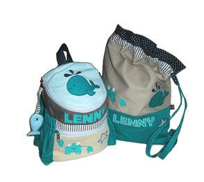Rucksack und Turnbeutel für den Kindergarten im maritimen Style