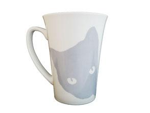 Nara Porcelaine Peinte à la main - Chat Curieux Mug bleu pigeon