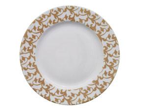 Nara Porcelaine peinte à la main - Trianon Assiette Empire Dessert Sable d'Or