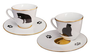 Du tasse café Chat noir & or