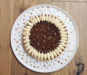 Plat à tarte Pâtissier Nara Porcelaine peint à la main Solenne Jan